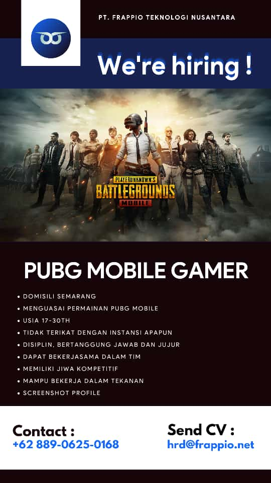 Lowongan Kerja PUBG Mobile Gamer di Frappio Semarang